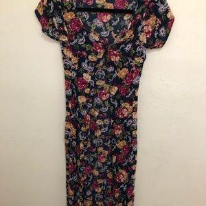 Billabong button up floral maxi dress